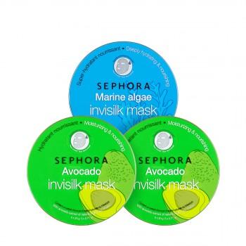 丝芙兰牛油果海藻蚕丝面膜3盒惠选套装